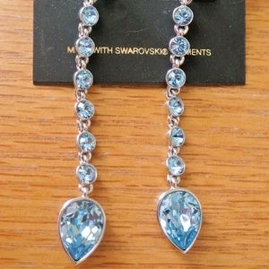 "Givenchy light blue Swarovski Element 3"" earings"